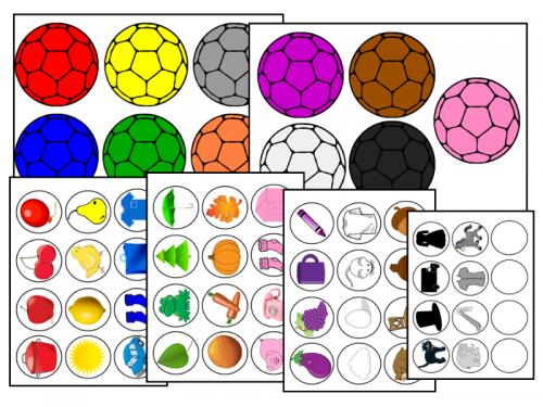 suport-vizual-pentru-sortare-dupa-culori-cu-mingi-si-jetoane-rotunde-cu-imagini